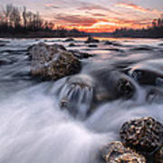 Rapids On Sunset Art Print by Davorin Mance