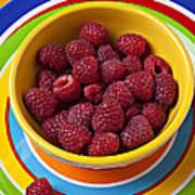 Raspberries In Yellow Bowl On Plate Art Print