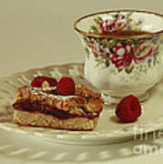 Raspberry Almond Square And Herbal Tea  Art Print