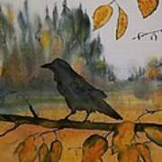 Raven In Orange Birch Print by Carolyn Doe