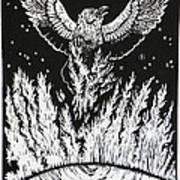 Raven Stealing Fire From The Sun - Woodcut Illustration For Corvidae Art Print