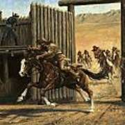 Re-closing Frontiersmen Coming Into The Fort Art Print