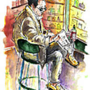 Reading El Pais And Drinking Rioja In Spain Art Print
