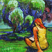 Reading In A Park Art Print