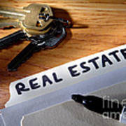 Real Estate File Folder With Marker And House Keys Print by Olivier Le Queinec
