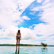 Rear View Of Woman In Bikini Standing Art Print