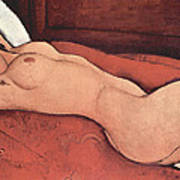 Reclining Nude With Arms Behind Her Head Art Print by Amedeo Modigliani