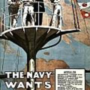 Recruiting Poster - Britain - Navy Wants Men Art Print