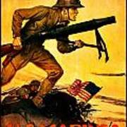 Recruiting Poster - Ww1 - Marines Over The Top Art Print