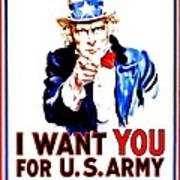Recruiting Poster - Ww1 - I Want You Art Print