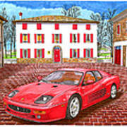Enzo Ferrari S Garage With 1995 Ferrari 512m Art Print