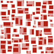 Red Abstract Rectangles Print by Frank Tschakert