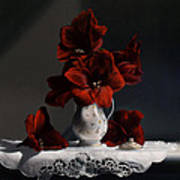 Red Amaryllis  Art Print by Larry Preston