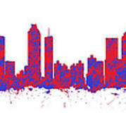 Red And Blue Art Print Of The Skyline Of Atlanta Georgia Usa Art Print