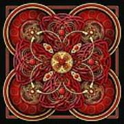 Red And Gold Celtic Cross Art Print