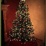Red And Gold Christmas Tree With Caption Art Print