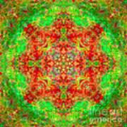Red And Green Sun Mandala Art Print