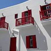 Red And White In Mykonos Art Print