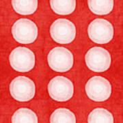 Red And White Shibori Circles Art Print