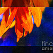 Red And Yellow Bloom In A Blue Paradise Art Print