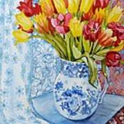 Red And Yellow Tulips In A Copeland Jug Art Print