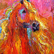 Red Arabian Horse Impressionistic Painting Art Print
