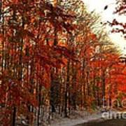 Red Autumn Road In Snow Art Print