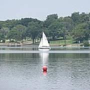 Red Ball Sailing Art Print