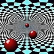 Red Balls Triptych Art Print