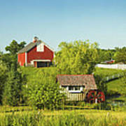 Red Barn And Water Mill On Farm In Maine Art Print