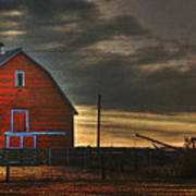 Red Barn At Dawn Art Print