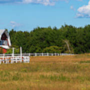 Red Barn In Meadow, Knowlton, Quebec Art Print