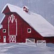 Red Barn Art Print by Kathy Weidner