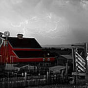Red Barn On The Farm And Lightning Thunderstorm Bwsc Art Print by James BO  Insogna