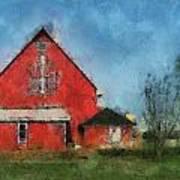 Red Barn Rear View Photo Art 03 Art Print