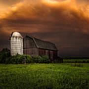 Red Barn Stormy Sky - Rustic Dreams Art Print
