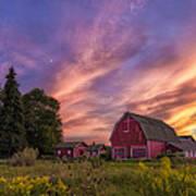 Red Barn Sunset 2 Art Print