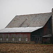 Red Barn With Medieval Silo  Art Print
