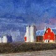 Red Barn With Silos Photo Art 02 Art Print