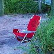 Red Beach Chair Art Print