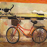 Red Bicycle And Cat Art Print