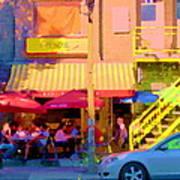 Red Bistro Umbrellas Cafe Cote Soleil Rue St Denis Yellow Staircase Montreal Scenes Carole Spandau Art Print