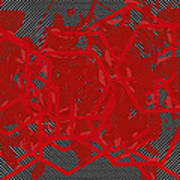 Red Black White Expressions Scramble  Black Red Art Print