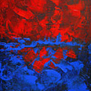 Red Blue Abstract Make It Happen By Chakramoon Art Print