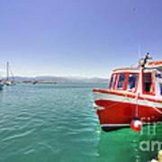 Red Boat At Nafplion Harbour Art Print