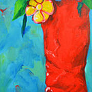 Red Boot With Flowers Art Print