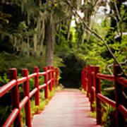 Red Bridge In Southern Plantation Art Print