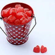 Red Bucket Of Hearts Art Print