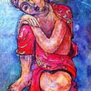 Red Buddha Resting Art Print