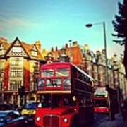 Red Bus On High Street Kensington Art Print by Maeve O Connell